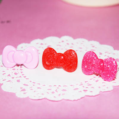 Kawaii Pink Glitter Bow Ring