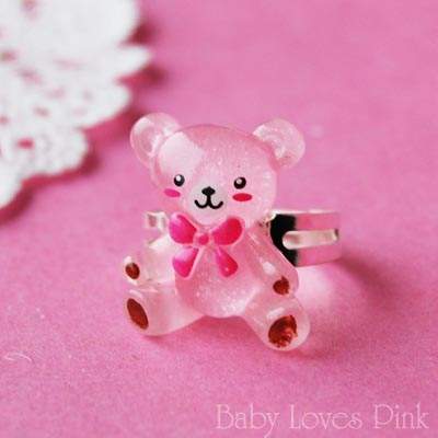 Kawaii Pink Teddy Bear Ring