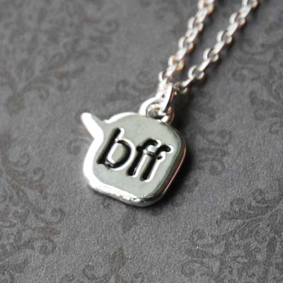 Best Friends &#039;BFF&#039; Chat Text - Sterling Silver Necklace