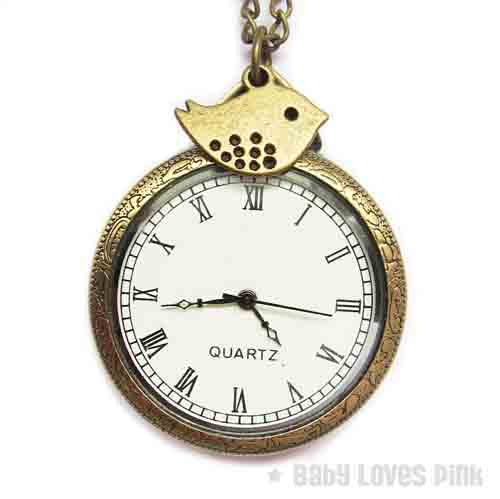 Sweet Bird Bronze Watch Necklace