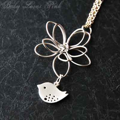Sweet Bird and Flower - white gold necklace