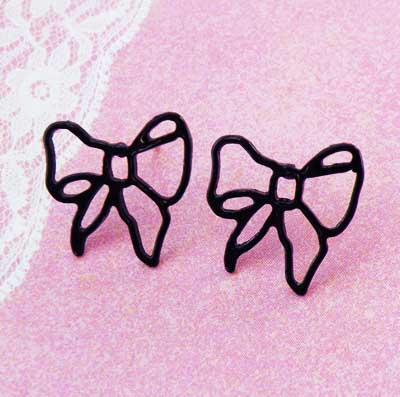 Black Ribbon Bow Earrings