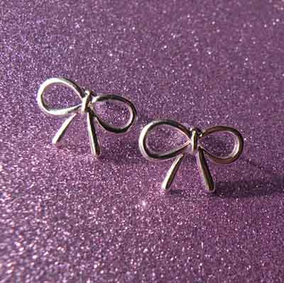 Silver Tied Present Bow Earrings