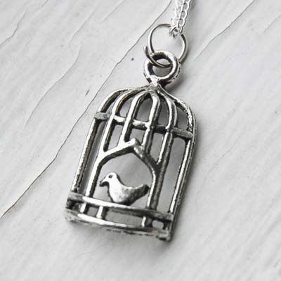 Silver Bird Cage Necklace