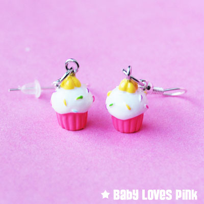Cute Pink Cupcake with Sprinkles Dangle Earrings