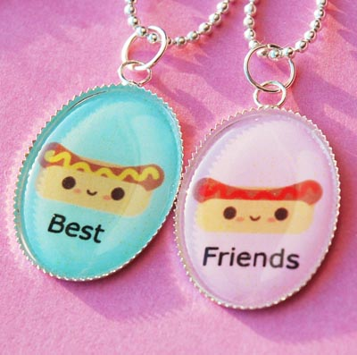 Friendship Necklace on Hot Dog Ketchup And Mustard Best Friend Friendship Necklace