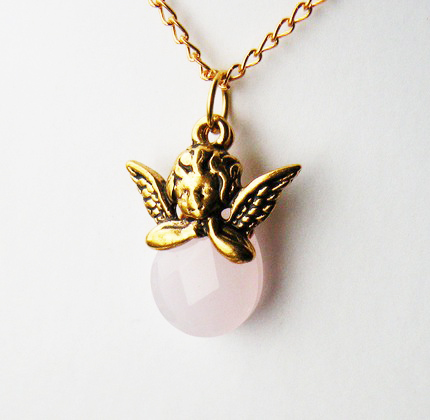 Guardian Angel with Pink Faceted Teardrop