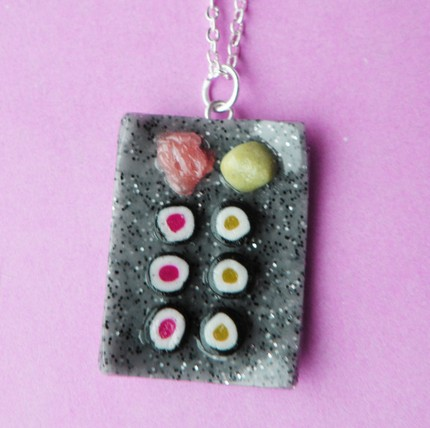Sushi Platter Necklace - Tuna and Cucumber Rolls