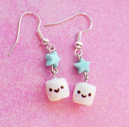 Chocolate Smiley Marshmallow Earrings