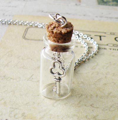 the Last Missing Key - Bottle Necklace