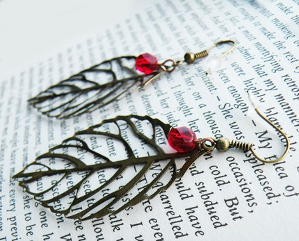 Cranberry Bronze Leaf Earrings