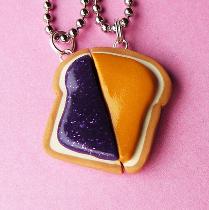 Peanut Butter and Jelly Matching Slice Best Friend Couples Necklaces - Set of 2