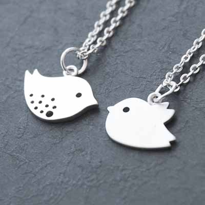 Mother and baby bird set of 2 white gold necklace aloadofball Images