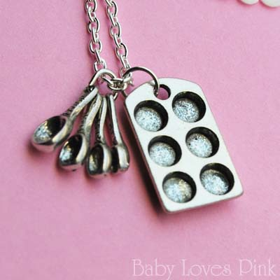 Muffin Pan and Measuring Spoon Baking Necklace