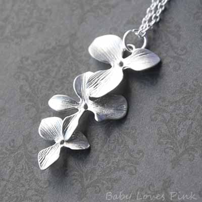 Triple Tier Orchid - White Gold Necklace