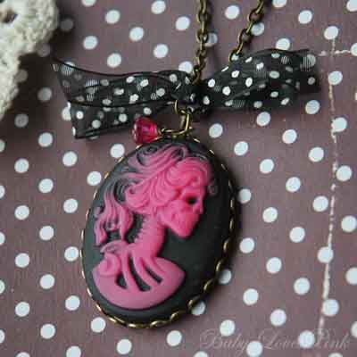 Pink Skeleton Princess Cameo Necklace