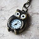 Wide-eyed Brass Owl Watch Necklace