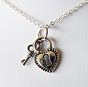 Heart and Key Lock Necklace
