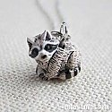 Tiny Raccoon Ceramic Necklace
