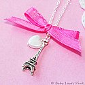 J'Adore Paris - Pink Ribbon ( silver necklace )