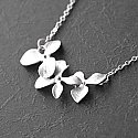 Triple Horizontal Tier Orchid - White Gold Necklace