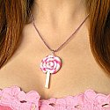 Sweet Pink and Purple Lollipop Necklace