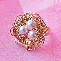 Golden Bird Nest - Wire-wrapped Ring