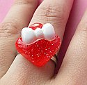 Kawaii Strawberry Candy Bow Ring