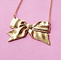 Lovely Brass Ribbon Bow Necklace