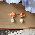 Sweet Coral Rose and White Pearl Earrings