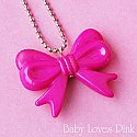 Hot Pink Ribbon Bow Necklace