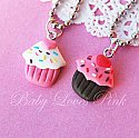 Sweet Heart Sprinkled Cupcake Necklace