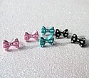 Kawaii Snow Dust Bow Earrings