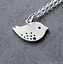 Sweet Bird White Gold Necklace