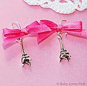 J'Adore Paris - Pink Ribbon ( silver earrings )