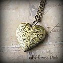 Romantic Bronze Heart Locket Necklace