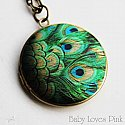 Peacock Feather Locket Necklace - Brass Photo Locket Pendant