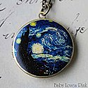 Starry Night Locket Necklace - Brass Photo Locket