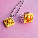 Belgian Waffles Necklace and Ring Set