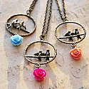Rose Garden Love Birds - ( Both Sided )Bronze Dangle Necklace