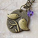Love Bird Necklace with Purple Flower