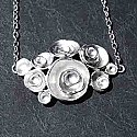 Modern Art Circular Floral Cluster - White Gold Necklace 