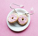Bagel with Strawberry Cream Cheese Earrings