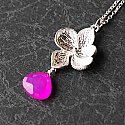 Hot Pink Chalcedony with White Gold Flower