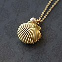 Ocean Seashell Pearl Locket Necklace