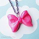 Sparkling Pink Bow Necklace