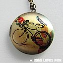 Bicycle Locket Necklace - with Blue Bird and Rose Brass Photo Locket