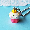 Pink Sprinkled Cupcake with Icing Necklace