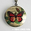 Monarch Butterfly Locket Necklace