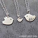 Family set of 3 Bird (white gold) Necklace